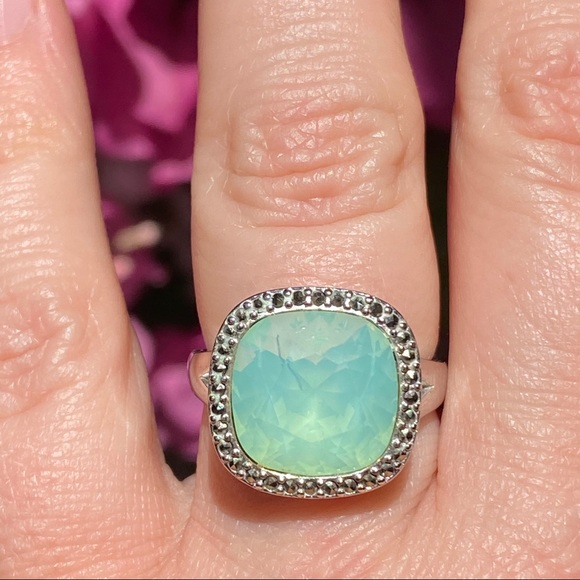 Daisy Floral Embrace Green Turquoise Sterling Silver Ring-7